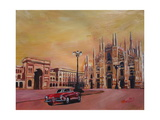 Milan Cathedral with Oldtimer Convertible Alfa Romeo Giclee Print by Markus Bleichner