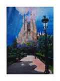 Barcelona Sagrada Familia with Park and Lantern Prints by Markus Bleichner