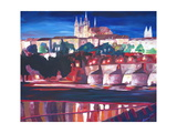 Prague - Hradschin with Charles Bridge Giclee Print by Markus Bleichner