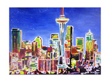 Neon Shimmering Skyline of Seattle With Space Need Giclee Print by Martina Bleichner
