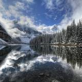 Moraine Lake with Fresh Snow Photographic Print by Jan Zwilling