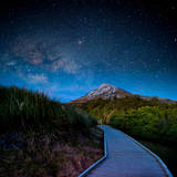Mt. Ekmond at Night with Starlight Photographic Print by coolbiere photograph