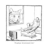 """I've gotta go—the exterminator is here."" - New Yorker Cartoon Regular Giclee Print par Matthew Diffee"