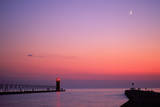 Lighthouse at Sunset w/ Moon, South Haven, MI Photographic Print by Thomas McGuire