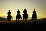 Cowboys Hitting the Trail at Sunrise, Oregon, USA Photographic Print by Inga Spence