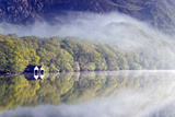 Mist Hangs over the Clear Waters of Llyn Dinas Photographic Print by Ron Evans