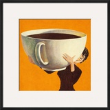 Woman Holding a Huge Cup of Coffee Posters by  Pop Ink - CSA Images