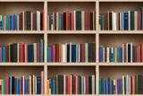 Books on a Wooden Shelfs. Reproduction photographique par  donatas1205