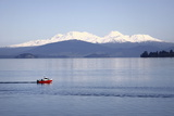 Red Boat on Lake Taupo Photographic Print by Gerhard Egger
