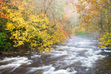 Mountain Stream with Mist and Fall Foliage Photographic Print by Bill Swindaman