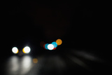 Two Lane Highway at Night in Rain Photographic Print by Allen Donikowski