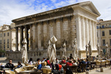 Outdoor Cafe in Front of the Roman Maison Carree in Nimes. Photographic Print by Glenn Beanland