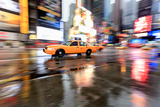 Yellow Cab and Reflections, times Square, New York Photographic Print by Fred Froese