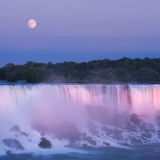 Usa, New York, Moon over American Falls at Dusk Photographic Print by Darwin Wiggett