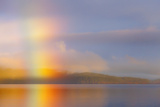 Usa, Washington State, Kitsap County, Seabeck, Hood Canal, Sunrise Rainbow over the Sea Photographic Print by Don Paulson Photography