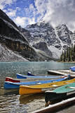 Canoes with Snow at Moraine Lake Photographic Print by Jack Booth Photography