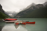 Canoes on Lake Louise, Banff National Park, Alberta, Canada Photographic Print by fStop Images - Brian Caissie