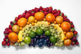 Various Fruits Arranged into the Shape of a Rainbow Photographic Print by Larry Washburn