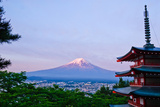 Dawn and Mt.Fuji with Pagoda Photographic Print by Tom Bonaventure