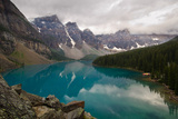 Moraine Lake with Cloudy Peaks in Morning Light Photographic Print by Rebecca Schortinghuis