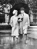 Couple W/Umbrella Walking in the Rain Photographic Print by George Marks