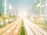Japan, Tokyo, Aoyama, Street Traffic at Night (Long Exposure) Photographic Print by Taizan Kamijo