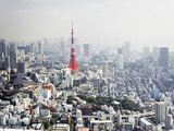 View over Tokyo with Tokyo Tower Photographic Print by Allan Baxter