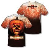 Halloween II - Pumpkin Skull (Front/Back Print) T-shirts