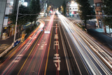 Traffic Trails at Night, Tokyo Photographic Print by  spiraldelight