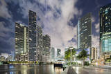 Miami River Cityscape at Dusk Photographic Print by Raimund Koch