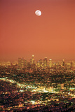 Los Angeles Civic Center Sprawl under Moon Sunset Photographic Print by Chad Ehlers