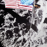 Astronaut on Moon, Holding US Flag, Elevated View Photographic Print by Steven Taylor