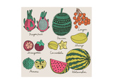 Bright Tropical Fruit Set in Vector. Dragon Fruit, Durian, Longan, Mangosteen, Carambola, Mango, An Prints by  smilewithjul