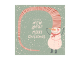Merry Christmas and a Happy New Year Cartoon Card in Vector. Childish Background with Funny Snowman Poster by  smilewithjul