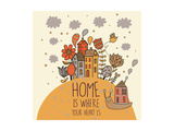 Home Concept Card. Vector Background with Houses, Snail and Flowers Prints by  smilewithjul