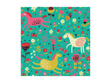Funny Horses in Flowers Posters by  smilewithjul