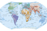 Digital Illustration of Map Showing World Population Areas Photographic Print by Dorling Kindersley