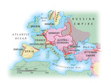 Digital Illustration of Map of Europe during World War I Photographic Print by Dorling Kindersley