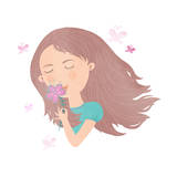 Cute Young Girl Smelling Flower Illustration Art by  smilewithjul