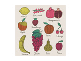Bright Fruit and Berries Set in Vector. Lemon, Redcurrant, Apple, Strawberry, Banana, Grape, Pomegr Print by  smilewithjul