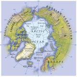 Digital Illustration of Map Showing Position of Arctic Ocean and Surrounding Continents Photographic Print by Dorling Kindersley