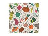 Bright Tasty Seamless Pattern with Green Peas, Eggplant, Potato, Carrot, Pumpkin, Avocado, Leek, Ra Prints by  smilewithjul