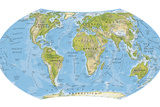 Digital Illustration of World Map and Oceans Photographic Print by Dorling Kindersley