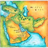 Map of the Middle East Photographic Print by Jennifer Thermes