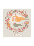 Cute Vector Background with Beautiful Mermaid in Flowers with Place for Text. Retro Style Card. Art by  smilewithjul