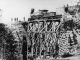 Locomotive on Bridge Photographic Print by Mathew Brady