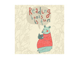 Reading Books is Fun - Cartoon Stylish Card in Vector. Cute Funny Bear Sitting and Reading an Inter Prints by  smilewithjul