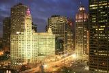 Michigan Avenue Wrigley Building at Night, Chicago Photographic Print by Hisham Ibrahim