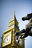 Sculpture and Big Ben Tower in London Photographic Print by Cultura Travel/Dan Dunkley