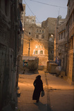 Woman Walking in Old Town, Dusk, San'a, Yemen, Middle East Photographic Print by Holger Leue